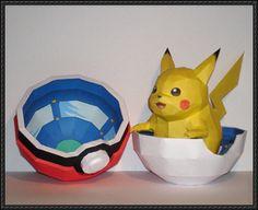 Pikachu + Pokeball Papercraft by Skele-kitty on DeviantArt Pokemon Papercraft, Pokemon Craft, Pokemon Party, Pokemon Birthday, Pikachu Pikachu, Toddler Crafts, Diy Crafts For Kids, Fun Crafts, Diy Paper