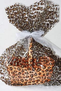 Leopard Plastic Cellophane Basket Gift Wrap bag, Easter Gift Baskets, Cheetah Cello Gift Basket Wrapping Bag Birthday Party Supplies