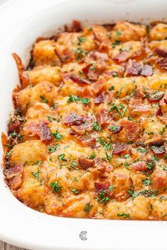 This Cheesy Tater Tot Breakfast Bake is super easy, can be prepped the night before, and incredibly delicious! Kids and grownups alike will devour this. Sure to be a family favorite!!