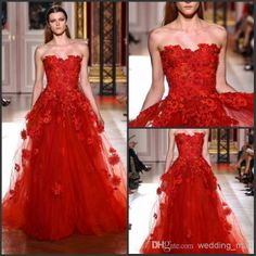 Wholesale Evening Dresses - Buy Latest Style Zuhair Murad Evening Wedding Dresses Gown Floral Lace Appliques Red Organza Tulle Formal Prom Dresses Strapless 2014 GOWN, $107.64 | DHgate