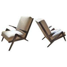"""Grasshopper"" Italian Oak 1950s Armchairs, Newly Recovered in Maharam Boucle"