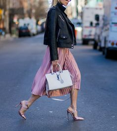 8 Surprising Ways to Rock a Moto Jacket - Add a Pretty Dose of Pink from InStyle.com