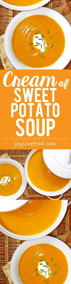 Cream of Sweet Potato Soup - rich and velvety, creamy and smooth, this pretty soup is perfect for fall and the holiday season.