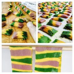 Working on nailing purple pasta through a combination of beet & spirulina. Not vibrant enough yet, but getting there. The agnolotti are filled with potato, ricotta, & chioggia beet. The green strips are kale-dyed, and the yellow have a little added turmeric but are mostly just yolk. Pasta infusion is a great super-secret way to get a lot of hidden vegetables into meals. #pastafattoamano #pastafattaincasa #pasta #agnolotti #barbabietola #kale #ricotta #beets #eeeeeats #feedfeed #colorful… Fresco, Colored Pasta, Make Your Own Pasta, Pasta Casera, Hidden Vegetables, Lotsa Pasta, Cooking For Beginners, Super Secret, Weird Food