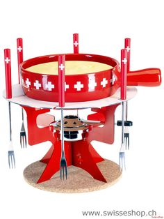 Käse Fondue-Set CH-Band- rot / The right equipment for the real taste of a Swiss cheese Fondue. Swiss Cheese Fondue, Swiss Miss, Swiss Design, Wallis, Kitchen Aid Mixer, Queso, Gadgets, Europe, Gift