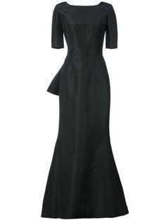 Shop Carolina Herrera draped V-back gown