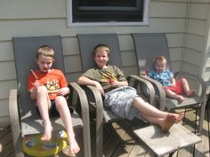 Brothers chillin' on the deck.