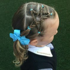Today we are sharing the love twinning in the with this recreation of Chelsea's Star style because we think she's… Girls Hairdos, Little Girl Hairdos, Cute Girls Hairstyles, Princess Hairstyles, Pretty Hairstyles, Braided Hairstyles, Gymnastics Hair, Hair Due, Toddler Hair