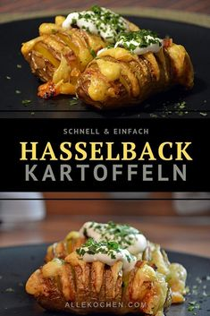 Hasselback Kartoffeln aus dem OfenOven Hasselback potatoes are a great recipe for any occasion. They taste particularly good when filled with cheese. There are many ways to prepare potatoes. Instead of french fries, there are now Hasselback po Fish Recipes, Baby Food Recipes, Food Network Recipes, Healthy Dinner Recipes, Great Recipes, Vegetarian Recipes, Hasselback Potatoes, Oven Potatoes, Eating Clean