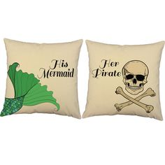 Set of 2 His Mermaid Her Pirate Pillow Covers and or Cushion Inserts - Decorative Throw Pillows, Pirate Print, Mermaid Print, His and Hers