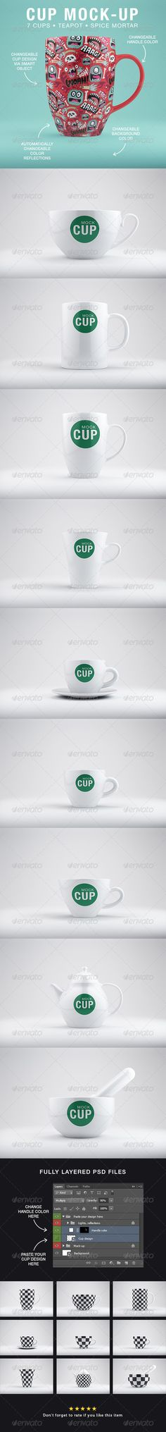 Such a simple element is shown in a ton of different styles. A cup is one of those things that we take for granite each day. There are truly a ton of different designs and this mockup shows all of the basic ones. Overall, the constant color and label of each cup makes the viewer focus on the shape. Overall, it is neat to see a variety of mugs.