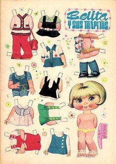 """Belita y sus trapitos"" Paper Doll by Manuel Brea Paper Dolls Book, Vintage Paper Dolls, Paper Toys, All Paper, Paper Art, Paper Crafts, Sweet Memories, Childhood Memories, Illustration Techniques"