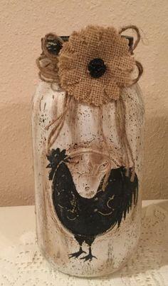 Rooster Decor Country Home Rooster Lover Housewarming Gift Prim Rooster Jar Country Kitchen Burlap Decor Wine Jug Crafts, Jar Crafts, Bottle Crafts, Mason Jar Art, Mason Jar Gifts, Mason Jar Projects, Diy Projects, Rooster Decor, Painted Mason Jars