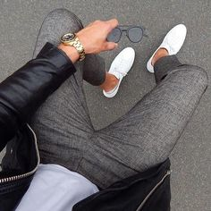 neutrals // sneakers, white tshirt, leather jacket