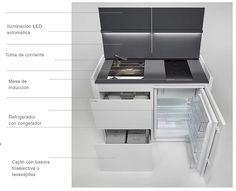 Cocinas Muy Pequeñas Mini Kitchen, Cuisine Design, Compact Kitchen, Exhaust Hood, Hotel Bedrooms, Vessel Sink, Minimalist Design, Dishwashers