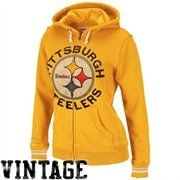 #UltimateTailgateParty #Fanatics Mitchell & Ness Pittsburgh Steelers Ladies Gold Vintage Full Zip Fleece Hoodie Sweatshirt