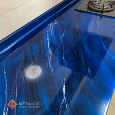 Metallic Epoxy Countertop Design: Silver marble veins with black highlights on Deep blue base Epoxy Countertop, Countertops, Black Highlights, Furniture Plans, Deep Blue, Resin, Marble, Metallic, Design Ideas