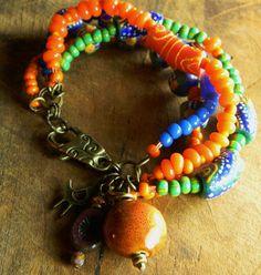Krobo African Trade Bead Bracelet Orange Brass by ChrysalisToo, $68.00