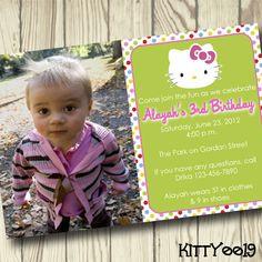 Hello Kitty Digital Printable Birthday Party Invitation Hello Kitty Invitations, Digi Stamps, 8th Birthday, Birthday Party Invitations, My Etsy Shop, Printables, Digital, Handmade Gifts, Fun
