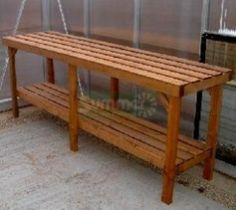 Heavy duty wooden 2 tier greenhouse staging with free next day delivery included. Greenhouse Tables, Greenhouse Staging, Greenhouse Shelves, Greenhouse Interiors, Backyard Greenhouse, Small Greenhouse, Greenhouse Plans, Garden Center Displays, Underground Greenhouse
