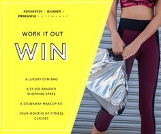 ENDS 12/31 - WIN a Bandier gym bag, $1,000 Bandier shopping credit, Stowaway makeup kit and a $600 American Express gift card Win the ULTIMATE gym bag! Enter now: http://r29.co/1XQgKdz