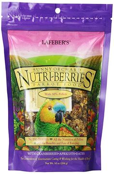 Lafeber's Gourmet Sunny Orchard Nutri-Berries for Parrots 10 oz bag. A Taste Of Golden Sunshine In Every Morsel. The delicious and enticing orchard flavors of sweet apricots, tempting raisins and tangy cranberries are added to the Nutri-Berries nutrition for a healthy nugget your bird will find irresistible. Maximum Nutrition. Minimum Waste.