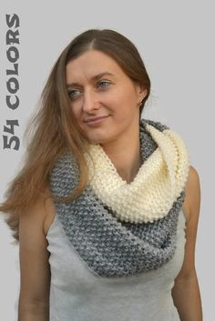 Circle scarf Knitted scarf Сhunky scarf Mens scarf by skeinofwool