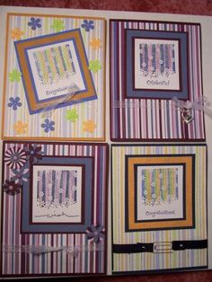Stampin Up Gently Falling 2006 stamp set Gently Striped with flowers