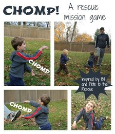 : a game to get moving, inspired by Bill and Pete to the Rescue by Tomi dePaola Gross Motor Activities, Movement Activities, Gross Motor Skills, Kid Activities, Summer Activities, Outdoor Stuff, Outdoor Fun, Mission Game, Backyard Games