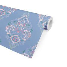 BOHO DAMASK BLUE Peel and Stick Wallpaper By Terri Ellis - 2ft x 16ft