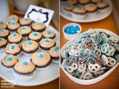 Chocolate lava cakes with cappuccino frosting.  Candy drizzled yogurt covered pretzels for a baby shower!