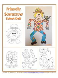 This is a super fun fall cut out craft of a friendly scarecrow!