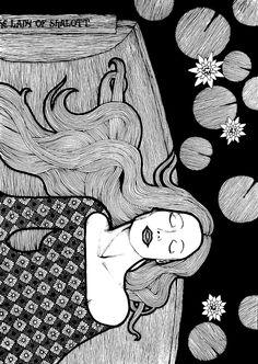 The Lady of Shalott by on deviantART The Lady Of Shalott, English Poets, Romanticism, Medieval, Symbols, Deviantart, Illustrations, Fictional Characters, Illustration