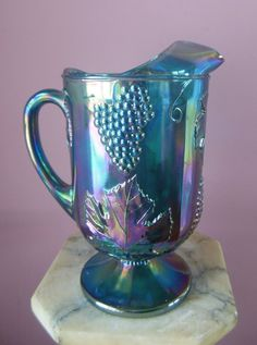 Antique Glassware   Vintage Blue Carnival Glass Pitcher With Grape and Leaf Pattern from ...