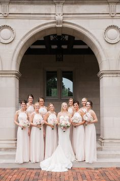 Bridesmaids in Blush | photography by http://www.carrettophoto.com/