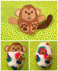 Peekaboo Monkey, In the Hoop Stuffed Softie - Reversible Folds Into An Egg - Products - SWAK Embroidery Crewel Embroidery Kits, Machine Embroidery Applique, Embroidery Files, Embroidery Designs, Brother Embroidery, Pattern Library, Softies, Plushies, Needlework