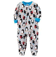 Carter's Baby Boys' One Piece Penguin Print Fleece Pajamas