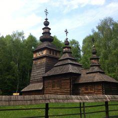 """Wooden church of Lemkivschyna (Western Ukraine), exhibited in Lviv open air art centre """"Shevchenkiv hai"""" in Lviv."""
