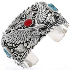 Navajo made, this Turquoise Coral Mens Cuff will make your presence unforgettable. Big Boy bracelet with premium Sterling weight & dramatic in presentation. Coral Turquoise, Turquoise Jewelry, Turquoise Bracelet, Red Coral, Silver Jewelry, Silver Rings, Navajo Jewelry, Chunky Jewelry, Stone Jewelry
