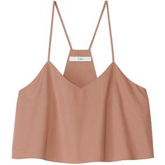 Tibi Beige Satin Poplin Cropped Tank (190 PEN) ❤ liked on Polyvore featuring tops, shirts, crop tops, blusas, beige, satin shirt, poplin shirt, loose shirts, cropped shirts and loose crop top