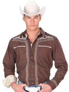 33897 Camisa Charra Caballero El General, 65% Polyester 35%Cotton - Brown