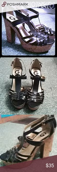 G by guess faux leather black & gold chunky heels G by guess black & gold chunky faux leather 4 inch heels, like new. G by Guess Shoes Heels