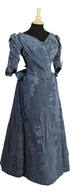 """An 1880s blue moiré ribbed silk dress, comprising a bodice and skirt, labelled """"Henry Darling & Co., Edinburgh."""" Click through for a bigger picture. Bonham's"""