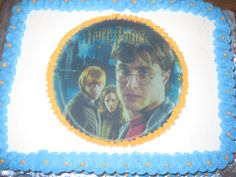 Harry Potter Cake.  Covered in Whipped Cream Frosting and Harry Potter Edible Image.