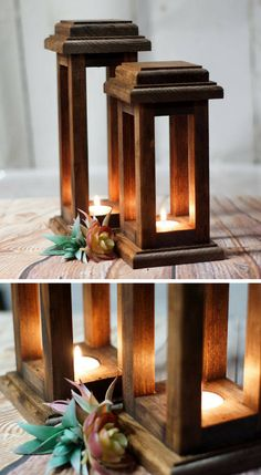 Reclaimed Wood Lanterns | Rustic Farmhouse Decor | Home Decor #sponsored