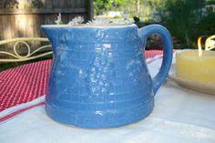 blue crock pitcher