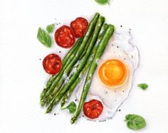 Tomato and Egg Sandwich ORIGINAL Painting by ForestArtStudio