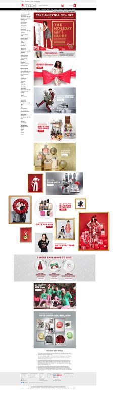 Macys Christmas landing page - moving pictures and link from the very top with Gift dropdown