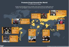 """Protests around the globe served as a reminder of the common desire for equality, justice, and freedom. The map highlights a selection of countries where mass protests were held in 2019.  Source: Freedom House. """"Freedom in the World: 2020 Report."""""""
