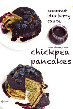 CHICKPEA PANCAKES WITH COCONUT BLUEBERRY SAUCE